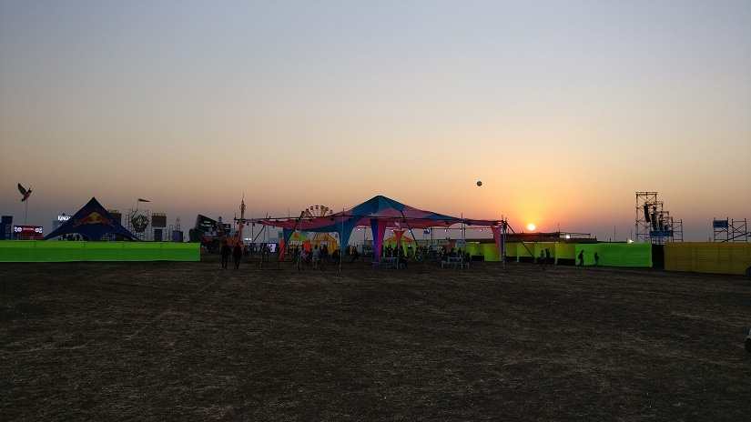 The Sunburn grounds on the first day of the festival, before the crowds. All photos by Aatish Nath