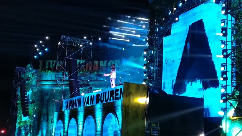 Armin Van Buuren addresses the crowd from the stage