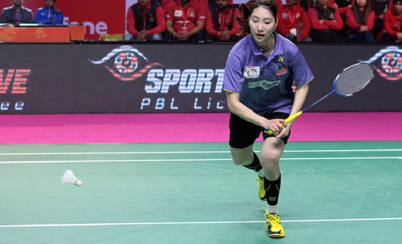 Sung Ji Hyun of the Mumbai Rockets in action in PBL. Image courtesy: pbl-india.com