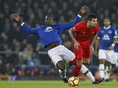 """Britain Football Soccer - Everton v Liverpool - Premier League - Goodison Park - 19/12/16 Everton's Romelu Lukaku in action with Liverpool's Dejan Lovren Reuters / Phil Noble Livepic EDITORIAL USE ONLY. No use with unauthorized audio, video, data, fixture lists, club/league logos or """"live"""" services. Online in-match use limited to 45 images, no video emulation. No use in betting, games or single club/league/player publications. Please contact your account representative for further details."""