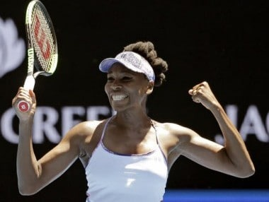 Venus Williams celebrates after defeating Anastasia Pavlyuchenkova at the Australian Open. AP