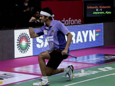 Ajay Jayaram celebrates a point during his clash against Kidambi Srikanth. PTI