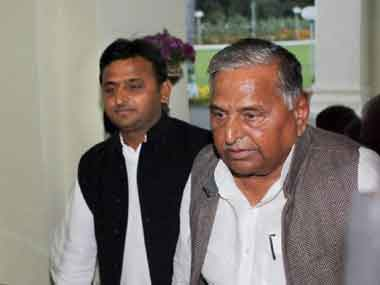 Akhilesh and Mulayam Singh Yadav. PTI