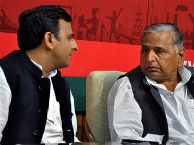 Chief Minister Akhilesh Yadav with his father Mulayam Singh Yadav. File photo. PTI