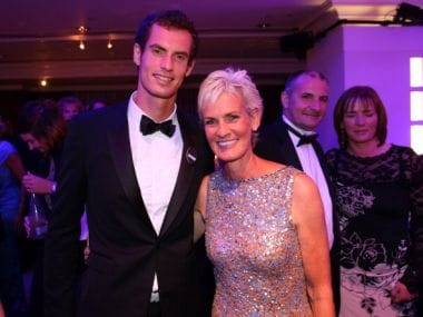 Andy Murray poses with his mum Judy Murray. Getty