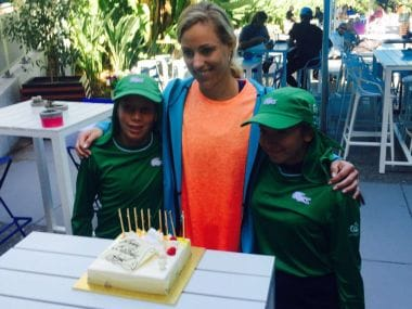 Angelique Kerber celebrates her birthday after a gruelling match. Image Credit: Twitter @AustralianOpen