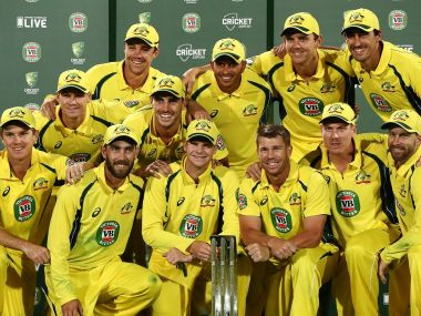 Australian cricket team poses with the trophy after 4-1 series win over Pakistan. Twitter/@CricketAus