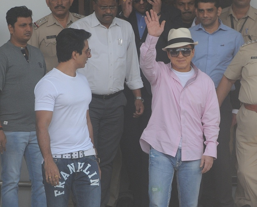 Jackie Chan with Sonu Sood in Mumbai on Monday, 23 January. Photo by Sachin Gokhale/Firstpost