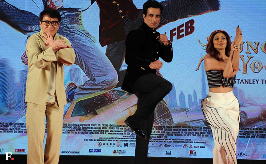 Jackie Chan, Sonu Sood and Shilpa Shetty strike Kung Fu poses. Firstpost/Sachin Gokhale