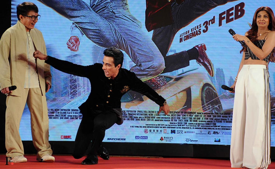 Shilpa Shetty freaks out as Sonu Sood attempts a move on Jackie Chan. Firstpost/Sachin Gokhale