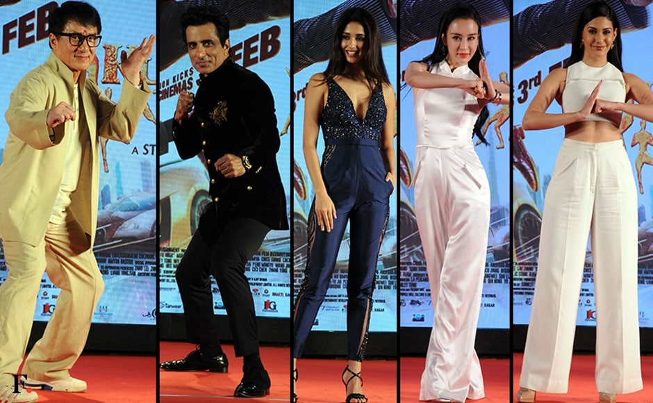 The posing game is quite strong for the star cast of Kunf Fu Yoga. Firstpost/Sachin Gokhale