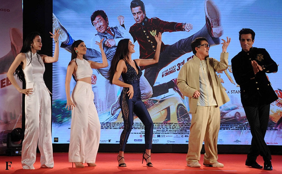 Sonu Sood is the odd one out as his Kung Fu Yoga co-stars strike a filmy pose. Firstpost/Sachin Gokhale