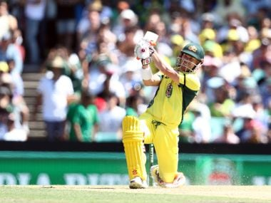 Australia's David Warner plays a shot against Pakistan. AFP