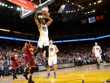 Kevin Durant of the Golden State Warriors dunks the ball against the Cleveland Cavaliers. Getty