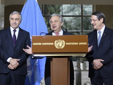 UN Secretary-General Antonio Guterres, center, speaks next to Cyprus President Nicos Anastasiades (right) and Turkish Cypriot leader Mustafa Akinci (left) during a press conference after the Conference on Cyprus, on the sideline of the Cyprus Peace Talks, at the European headquarters of the United Nations in Geneva, Switzerland. AP