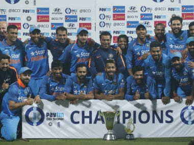 India pose with the ODI series winner's trophy. AP