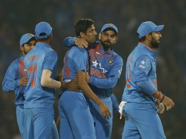 The Indian team celebrates the fall of a wicket in the Nagpur T20I. AP