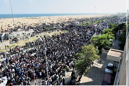 Millions throng Chennai's Marina beach to protest the ban on jallikattu. PTI