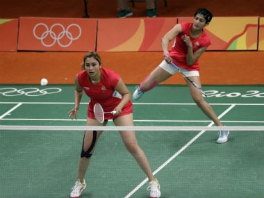 Jwala Gutta in action with her doubles partner Ashwini Ponnappa, before the leading Indian pair split in November. AP