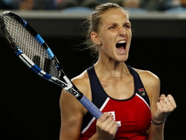 Karolina Pliskova reacts after winning a close against Jelena in Round 3. AP