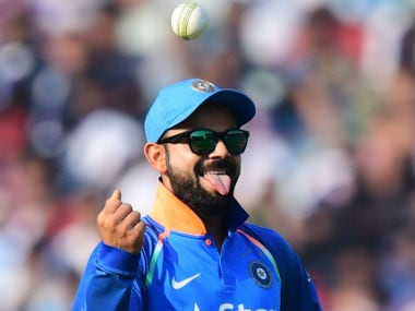 Virat Kohli in a lighter mood. AFP