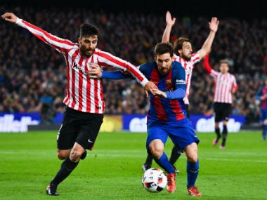 Lionel Messi in action during Barcelona's 2nd leg Copa del Rey fixture against Athletic Bilbao. Getty Images