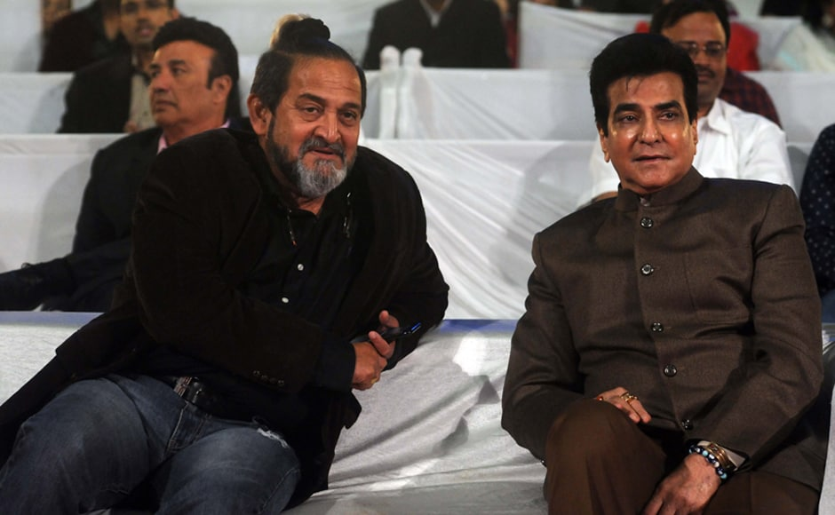 Mahesh Manjrekar and Jeetendra share a moment. Photo: Sachin Gokhale/Firstpost