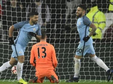 Sergio Aguero celebrates his goal against West Ham. Reuters