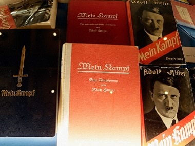 Copies of Adolf Hitler's book Mein Kampf are displayed at a shop window. Getty Images