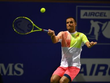 Mikhail Youzhny in action at the Chennai Open. Image Credit: Twitter @ChennaiOpen