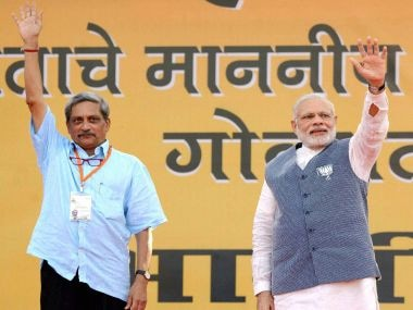 Prime Minister Nrendra Modi and Defence Minister Manohar Parrikar during an election campaign rally in Panaji, Goa on Saturday. PTI