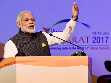 Prime Minister Narendra Modi addresses the Vibrant Gujarat Global Summit 2017, in Gandhinagar, Gujarat on Tuesday. PTI