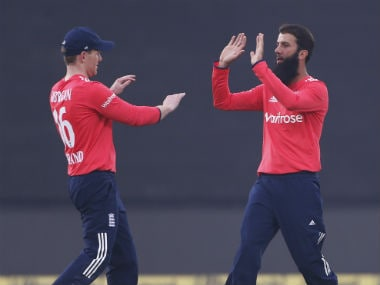 Moeen Ali recorded his career-best T20I figures of 2/21. AP