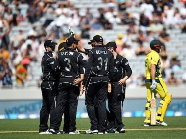 New Zealand celebrate an Australian wicket in the ODI in Auckland. Twitter\ @BLACKCAPS
