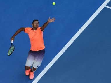 Nick Kyrgios of Australia serves at the Hopman Cup. Getty