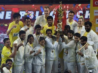 Chennai Smashers celebrate with the winning trophy after beating Mumbai Rockets. PTI