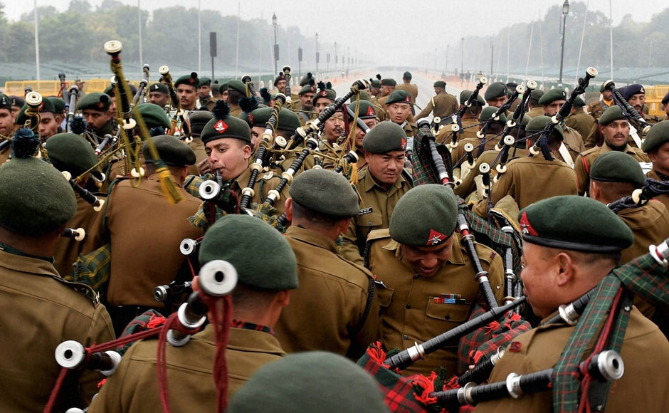 Army band practices bagpipes during a rehearsal ahead of the Republic Day parade, in New Delhi on Tuesday. PTI