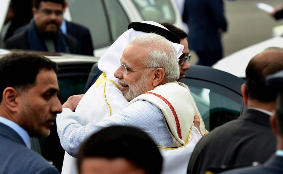 Prime Minister Narendra Modi greets Sheikh Mohammed Bin Zayed, Crown Prince of Abu Dhabi and Deputy Supreme Commander of the Armed Forces, upon his arrival on a state visit to India, at AFS Palam in New Delhi on Tuesday. The Crown Prince is the chief guest at India's Republic Day celebrations. PTI
