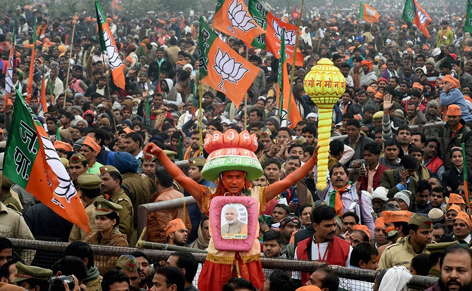 The BJP expected a million supporters to turn up for Monday's mega rally in Lucknow. PTI