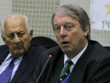 Giles Clarke, head of International Cricket Council's Pakistan Task Team, speaks during a press conference with Pakistan Cricket Board Chairman Shahryar Khan after their meeting in Lahore. AP