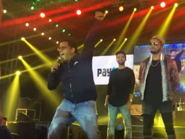 Paytm founder during his speech at the party. Screenshot from YouTube video