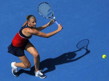 Karolina Pliskova hits a shot during her first round match at the Australian Open. Reuters