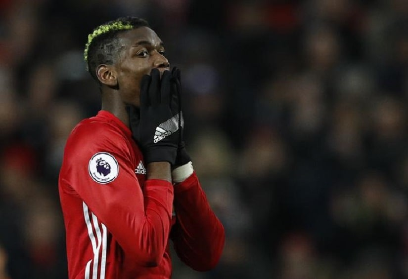 "Britain Soccer Football - Manchester United v Liverpool - Premier League - Old Trafford - 15/1/17 Manchester United's Paul Pogba reacts after a missed chance Reuters / Phil Noble Livepic EDITORIAL USE ONLY. No use with unauthorized audio, video, data, fixture lists, club/league logos or ""live"" services. Online in-match use limited to 45 images, no video emulation. No use in betting, games or single club/league/player publications. Please contact your account representative for further details."
