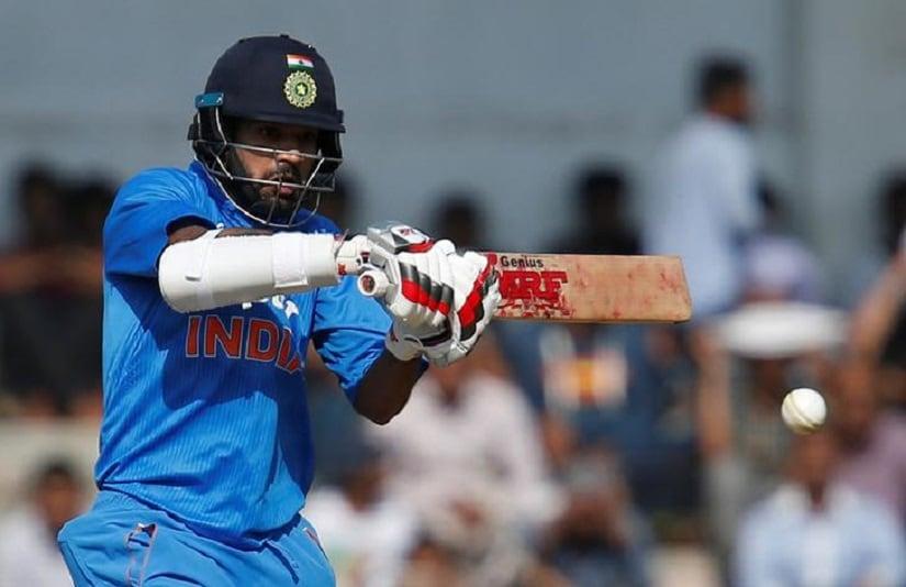 Cricket - India A v England XI- One-day warm-up match match - Brabourne stadium, Mumbai, India - 10/01/2017. India A's Shikhar Dhawan plays a shot. REUTERS/Danish Siddiqui