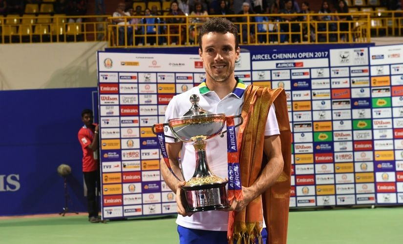 Roberto Bautista Agut with his Chennai Open 2017 singles winner's trophy. Image courtesy: Chennai Open