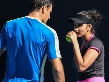 Sania Mirza in conversation with Ivan Dodic during an Australian Open match. AFP