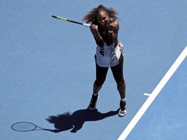 Serena Williams celebrates her win over Johanna Konta during their quarterfinal at the Australian Open. AP