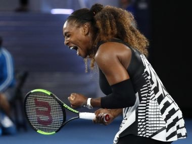 Serena Williams celebrates after defeating Lucie Safarova at the Australian Open. AP