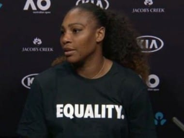 """Serena Williams wore a T-shirt emblazoned with the word """"Equality"""" at her press conference. Image courtesy: Twitter"""