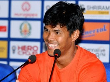 Somdev Devvarman addresses the press conference in Chennai. PTI